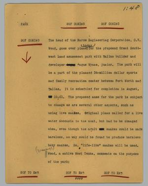 Primary view of object titled '[News Script: Park]'.