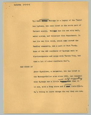 Primary view of object titled '[News Script: Watauga]'.