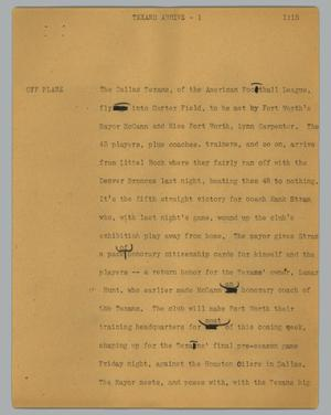 Primary view of object titled '[News Script: Texans arrive]'.
