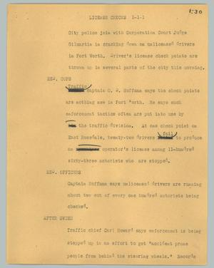 Primary view of object titled '[News Script: License checks]'.