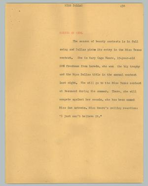 Primary view of object titled '[News Script: Miss Dallas]'.