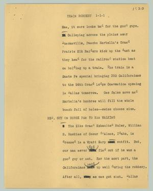 Primary view of object titled '[News Script: Train robbery]'.