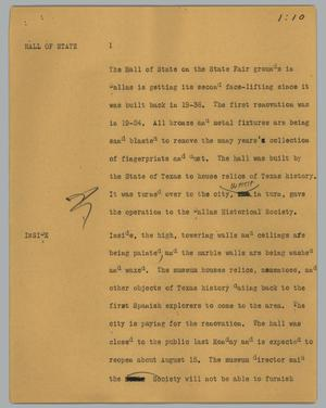 Primary view of object titled '[News Script: Hall of state]'.