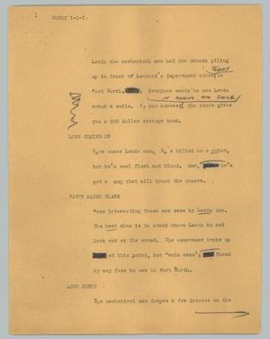 Primary view of object titled '[News Script: Robot]'.