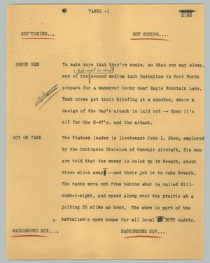 Primary view of object titled '[News Script: Tanks]'.