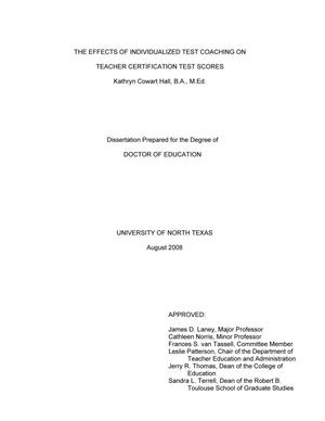 Primary view of object titled 'The Effects of Individualized Test Coaching on Teacher Certification Test Scores.'.