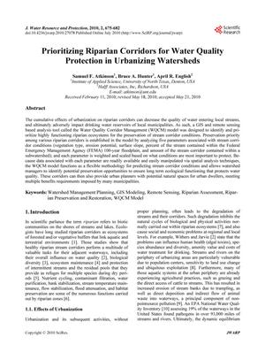 Primary view of object titled 'Prioritizing Riparian Cooridors for Water Quality Protection in Urbanizing Watersheds'.