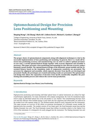 Primary view of object titled 'Optomechanical Design for Precision Lens Positioning and Mounting'.