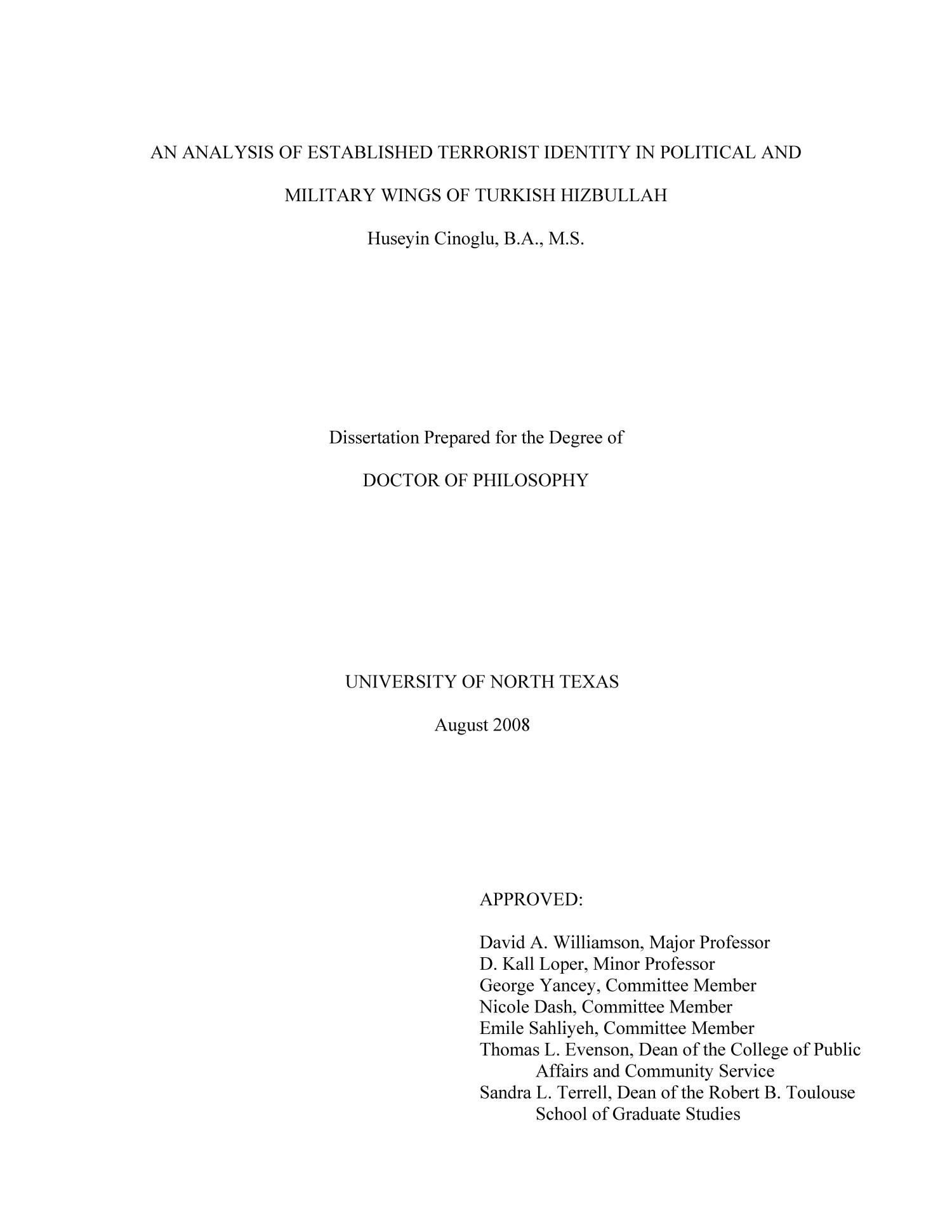 An Analysis of Established Terrorist Identity in Political and Military Wings of Turkish Hizbullah                                                                                                      Title Page