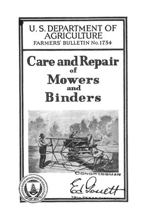 Primary view of object titled 'Care and repair of mowers and binders.'.