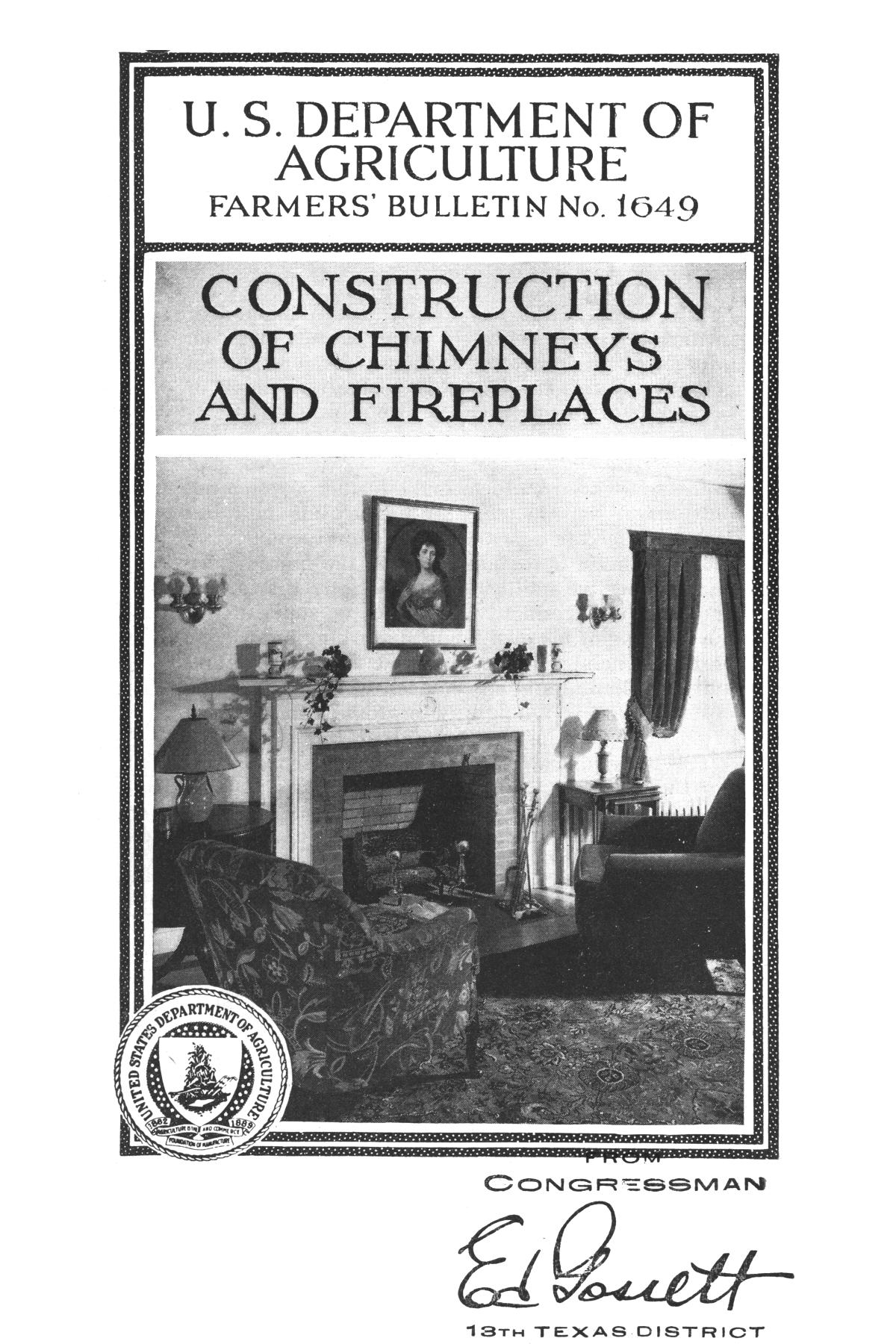 Construction of chimneys and fireplaces.                                                                                                      Front Cover