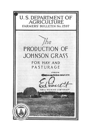 Primary view of object titled 'The production of Johnson grass for hay and pasturage.'.