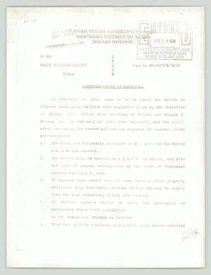 Primary view of object titled '[Amended order of dismissal: PWA v Mark William Nelson]'.