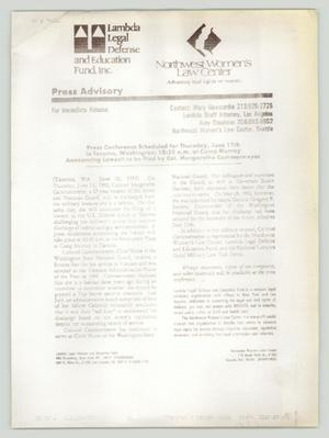 Primary view of object titled '[Press Release: Lawsuit to be filed by Col. Margarethe Cammermeyer]'.