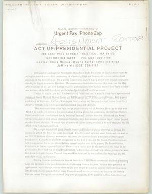 Primary view of object titled '[Fax: ACT UP/ Presidential Project]'.
