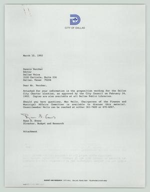 Primary view of object titled '[Letter and Attachment: Proposition wording for the Dallas City Charter election]'.
