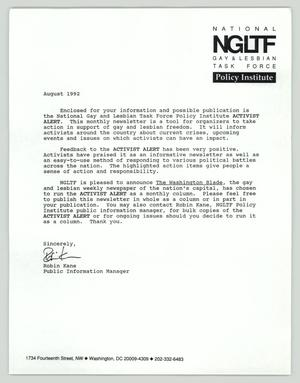 Primary view of object titled '[Letter: NGLTF Activist Alert]'.