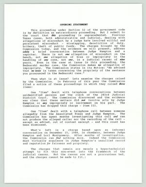 Primary view of object titled '[Text: Opening statement of Judge Jack Hampton's defense attorney]'.