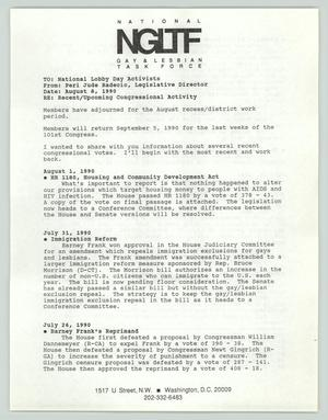 Primary view of object titled '[Memo: NGLTF to National Lobby Day Activists]'.