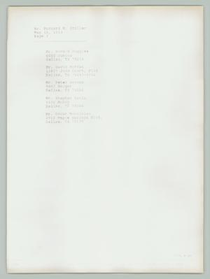 Primary view of object titled '[List of Contacts: Bernard M. Stoller]'.