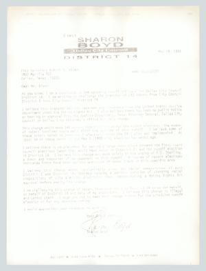 Primary view of object titled '[Letter: Sharon Boyd to Robert Sloan]'.