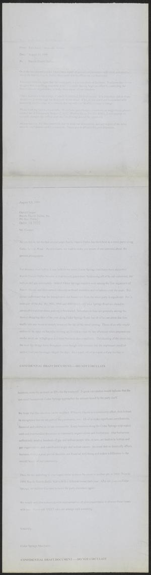 Primary view of object titled '[Letter pertaining to Razzle Dazzle Dallas street party]'.
