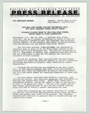 Primary view of object titled '[Press release: national hate crimes hotline disconnects gays, but NGLTF pressure forces policy change]'.