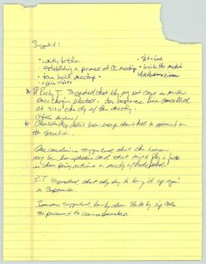 Primary view of object titled '[Handwritten notes: Meeting topics]'.