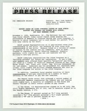 Primary view of object titled '[Press release: Report cards on 102nd Congress issued by task force]'.