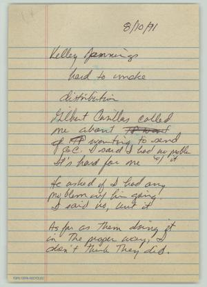 Primary view of object titled '[Handwritten notes: Interview with Kelley Jennings]'.