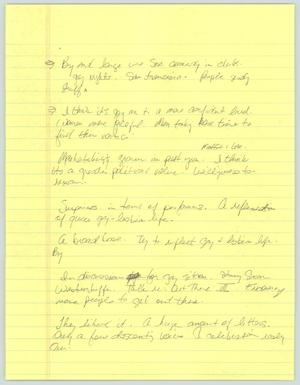 Primary view of object titled '[Handwritten notes: Gay comedy]'.