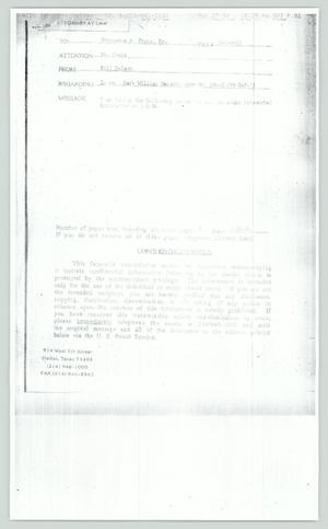 Primary view of object titled '[Faxed copy: Mark William Nelson to Constance Fouts]'.
