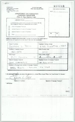 Primary view of object titled '[Copy of a collection of financial documents from Sharon Boyd's campaign]'.