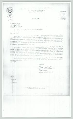 Primary view of object titled '[Letter: Re: Texas Ethics Coalition to Dallas County Republican Coalition]'.