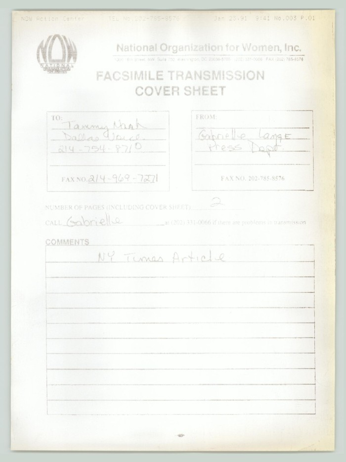 primary view of object titled fax cover sheet national organization for women to