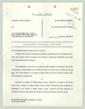 Primary view of object titled '[Plaintiff's original petition: HIV discrimination case Ingram v. R&D Industries]'.