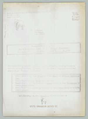 Primary view of object titled '[Mail: Dallas County Republican Women's Coalition to Joe Morales]'.