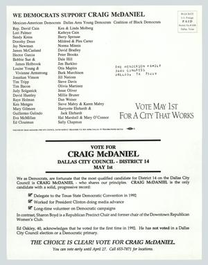 Primary view of object titled '[Letter: We Democrats support Craig McDaniel]'.
