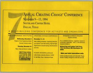 Primary view of object titled '[Flyer: 7th Annual Creating Change Conference]'.