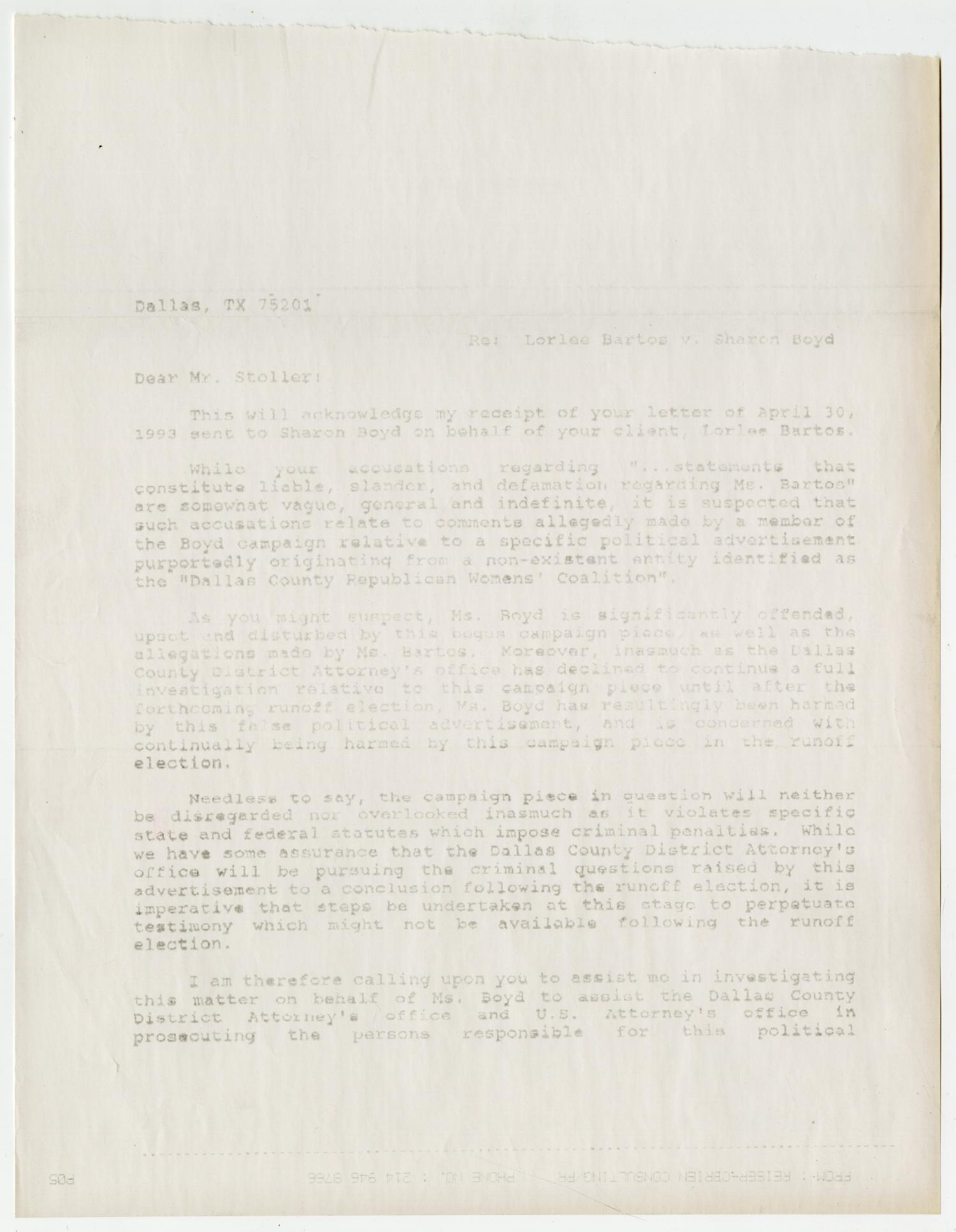 Letter: Sharon Boyd to Bernard Stoller] - Digital Library
