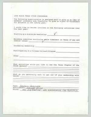 Primary view of object titled '[Form: NLGJA interest form]'.