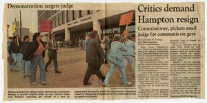Primary view of object titled '[Clipping Dallas Morning News: Critics demand Hampton resign]'.