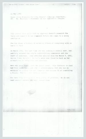 Primary view of object titled '[Statement: Mr. McDaniel's statement on his opponent's charges]'.