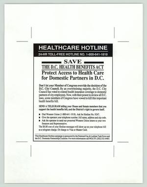 Primary view of object titled '[Advertisement: Save the D.C. health benefits act]'.