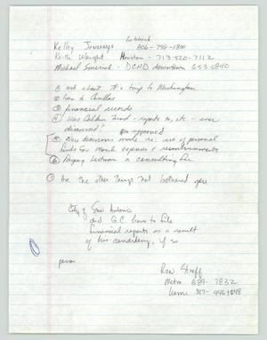 Primary view of object titled '[Handwritten notes on fund controversy]'.