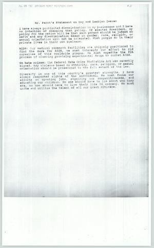 Primary view of object titled '[Copy: Mr. Perot's Statement on Gay and Lesbian Issues]'.