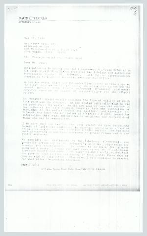 Primary view of object titled '[Letter: From David L. Tucker to Vince Cruz Jr.]'.