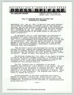 Primary view of object titled '[Press release: Vote to overturn anti-gay military ban introduced in Congress]'.