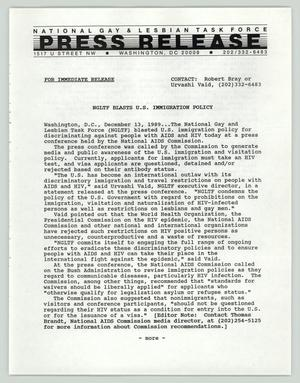 Primary view of object titled '[Press release: NGLTF blasts U.S. immigration policy]'.