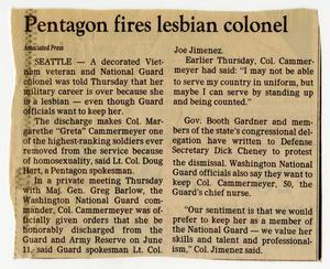Primary view of object titled '[Newspaper clipping: Pentagon fires lesbian colonel]'.